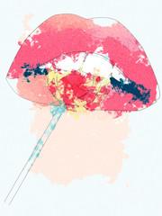 Cartoon lips with lollipop