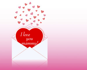 Mother's day. Greeting card in the shape of heart.