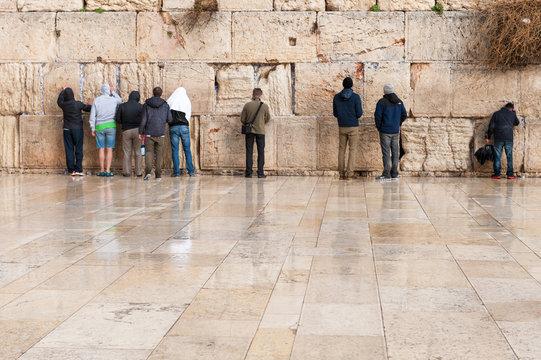 Young prayers at the Wailing wall in Jerusalem