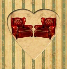 Printed kitchen splashbacks Vintage Poster Vintage Heart - Ledersessel