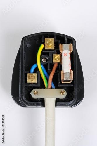 Wiring inside English plug © Arena Photo UK