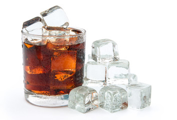 cup of cola and ice with clipping path 2