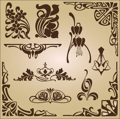 Design elements for decoration in the style of Art Nouveau.