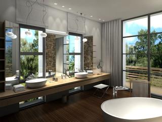 rendering of a modern luxurious bathroom
