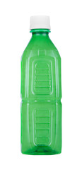 Green plastic bottle without label, isolated on white background