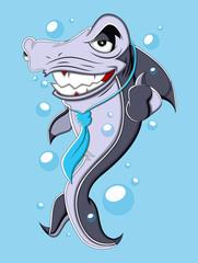 Evil Business Cartoon Shark Vector Illustration