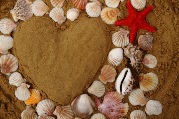 heart from the sand and shells