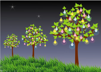 Trees with light bulbs implies substituted energy from nature