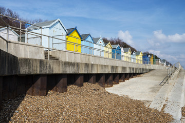Colorful Beach Huts at Felixstowe, Suffolk, UK.