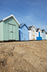 Colorful Beach Huts at Felixstowe, Suffolk, UK.