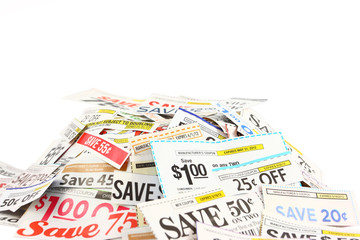Pile Of Coupons On White