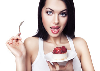 playful woman with cake