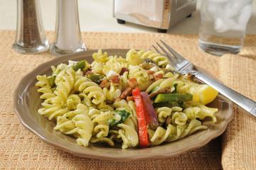 Spinich Basil Pesto Cavatappi Salad