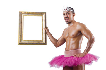 Man in pink tutu with picture frame