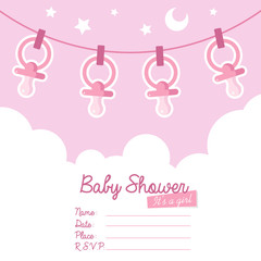 Pink Baby Shower Invitation with Pacifiers