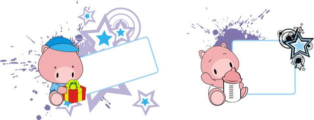 pig baby cartoon copyspace