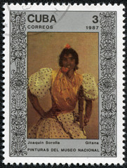 "Stamp shows the painting ""Gypsy"", by Joaquin Sorolla"