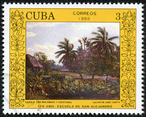 "stamp shows the ""Landscape with Malangas and Palm Trees"""