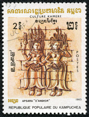 stamp printed in the Cambodia, depicts Apsara, Angkor