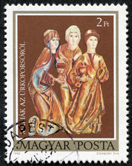 stamp printed by Hungary, shows Three Marys