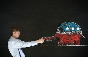Man pulling republican democracy elephant