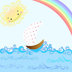 Sunny, boat and rainbow. Children's illustration.