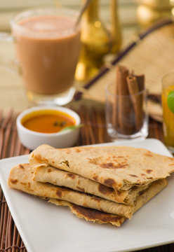 Chapati , Indian flat bread in plate usually served with curry