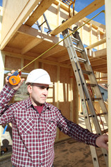 Foreman in house under construction