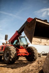 Red Wheeled Excavator