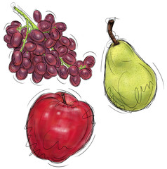 Grapes, pear, and apple