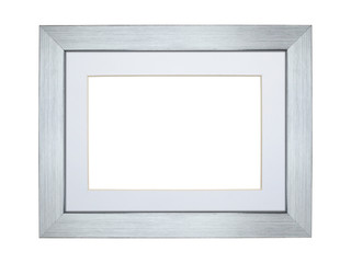 Silver picture frame with clipping path