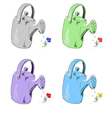Watering can in different colors set