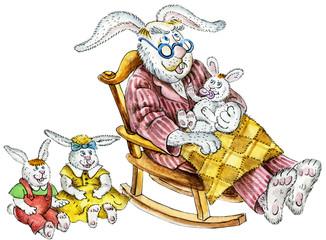 cute rabbit family: grandpa and little grandchildren