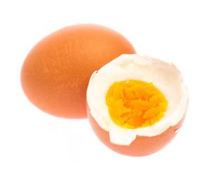 hard-boiled eggs on white background