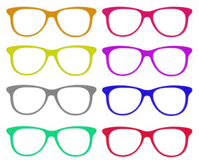 the set of colorful glasses