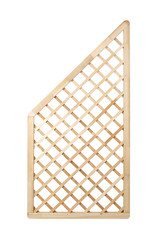 Wooden lattice fence panel isolated with clipping path
