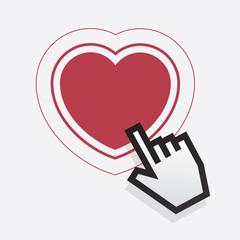 Digital hand pointing at heart