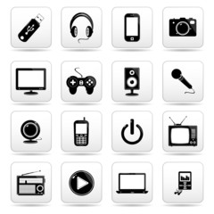 technology icons, signs set, vector