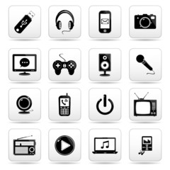 Technology icon on square black and white button collection