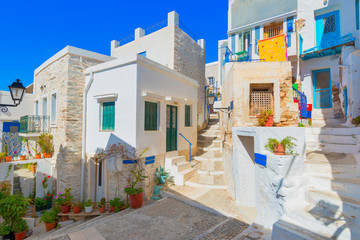 Greece Syros island architecture inside main capitol with view o