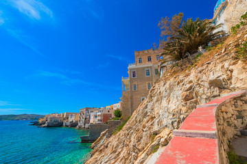 Wall Mural - Greece Syros island artistic view of main capitol, also known as