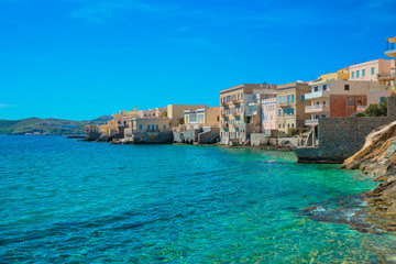 Fototapete - Greece Syros island artistic view of main capitol, also known as