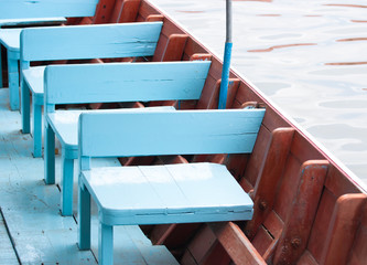 Seats wooden on the boat