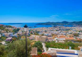 Greece Syros island panoramic view of main capitol with sea in b