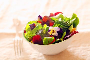 Fresh nasturtium and herb salad