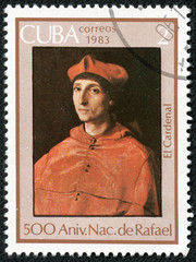 stamp printed in Cuba shows draw by artist Rafael
