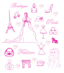 Door stickers Doodle Paris fashion doodles set