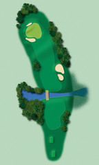 Golf course in aerial view