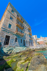 Greece Syros, traditional architecture view of old building in m