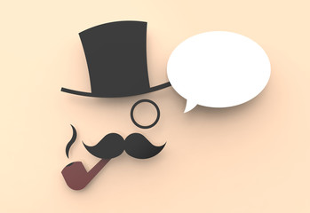 A wise man with top hat and pipe and a speech balloon.